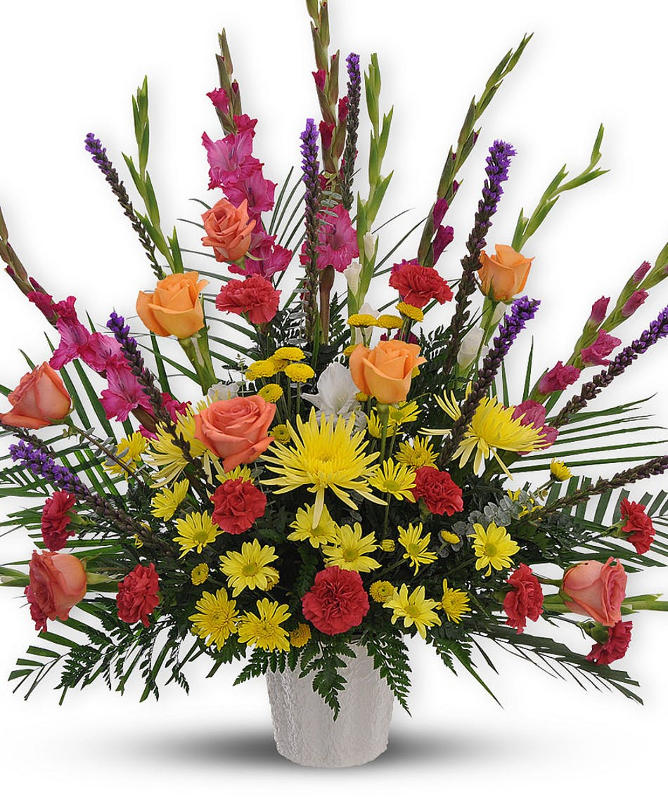 Rainbow radiance funeral flower arrangement dallas delivery izmirmasajfo