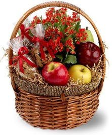 Gift Basket filled with apples, mixed nuts, peanuts and a pear plus an orange kalanchoe plant.