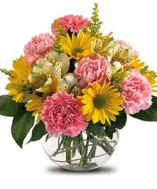 yellow and pink carnation and daisy arrangement