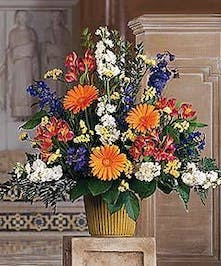 Gerbera daisies and a bright mix of flowers.