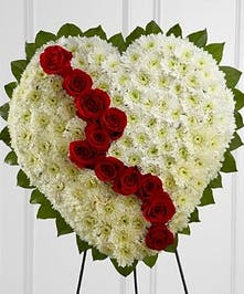 White chrysanthemum heart accented with greenery and a line of red roses to represent a broken heart.