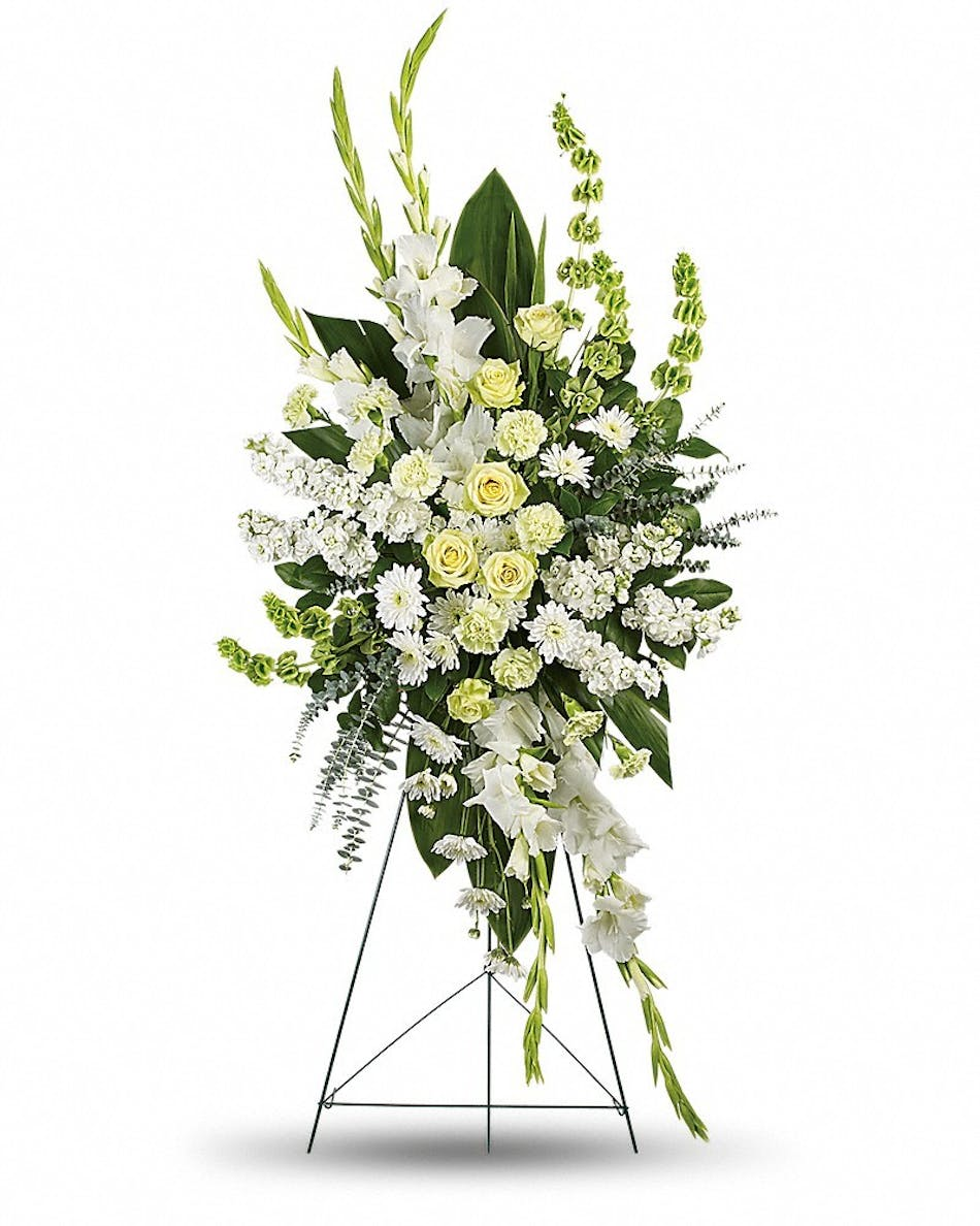 Magnificent life funeral flowers ft worth hurst tx green and white sympathy spray accented with greenery izmirmasajfo