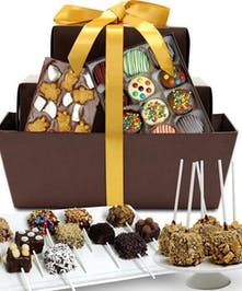 Gift basket filled with chocolate-covered goodies.
