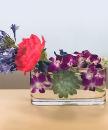 Dendrobium orchids and succulents in a clear glass vase.