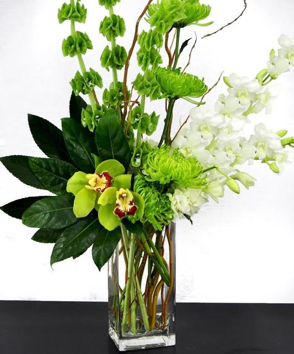 Modern green irish flower arrangement bices florist ft worth modern flower bouquet in shades of green and white in a tal glass cube vase izmirmasajfo
