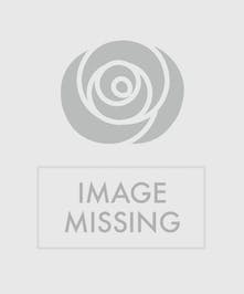 Red and white funeral flowers in a funeral arrangement urn.